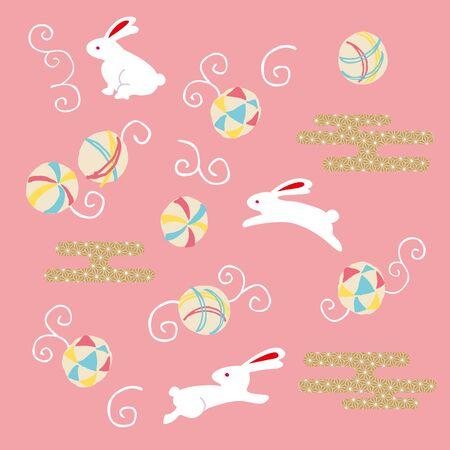 asian bunny: Cute rabbit and Temari