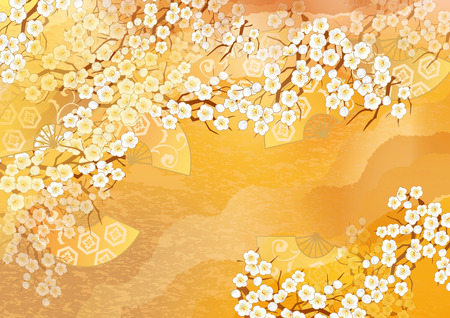 japanese: Beautiful kimono of illustrations of Japan Stock Photo