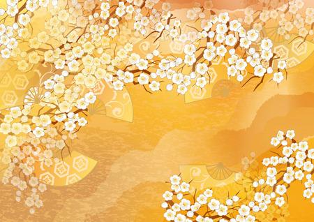 Beautiful kimono of illustrations of Japan Standard-Bild