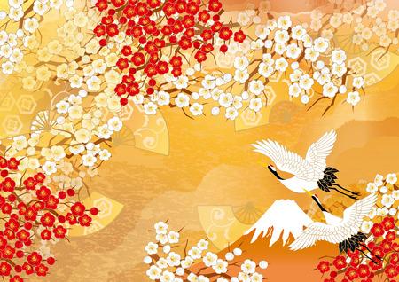 Beautiful crane illustrations of Japan