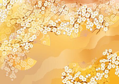 Mooie kimono illustraties van Japan Stockfoto