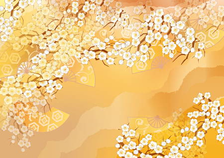 Beautiful kimono of illustrations of Japan Stock Photo