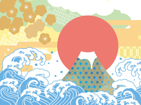auspicious: Sea and auspicious illustration of Mount Fuji