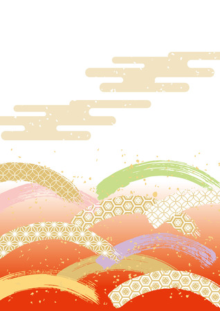 The pattern of Japanese pattern wanting beautifully in Japan / brush touch (color)