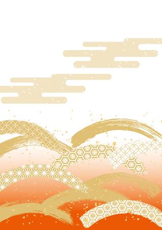 日本で美しくしたい和柄パターンbrushstroe (赤)