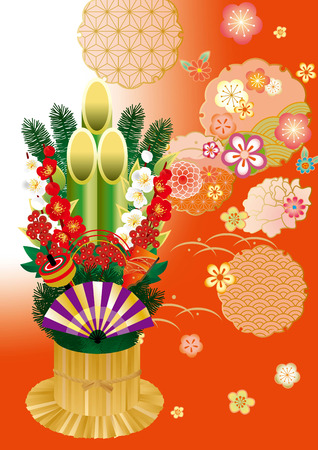 kadomatsu: Japanese New Years cards material (Kadomatsu and cute plum) Illustration