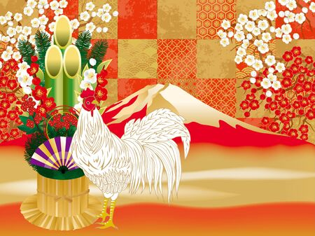 kadomatsu: It is a beautiful year-shaped material of the year of the Rooster in 2017.
