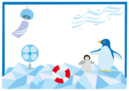 sea bird: It is an illustration of penguin summer at the North Pole