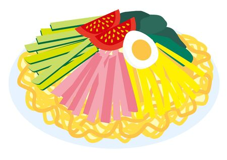 It is an illustration of chilled Chinese noodle Ilustrace