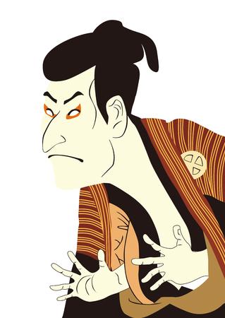 Kabuki Japan White III  イラスト・ベクター素材