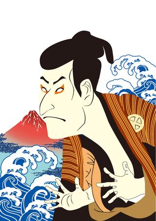hokusai: Kabuki Japan white (d) Illustration