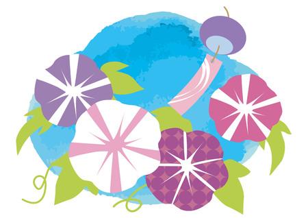 日本の夏の朝顔です。  イラスト・ベクター素材