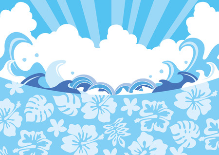 Illustration of summer wave  イラスト・ベクター素材