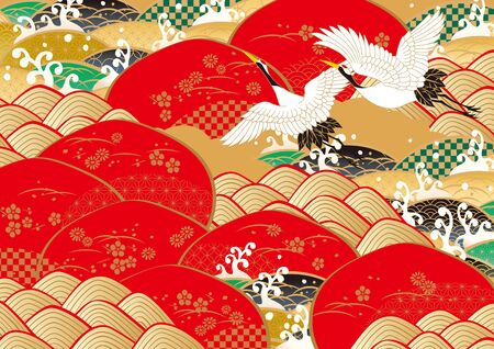 New Year's pattern in Japan vector illustration.