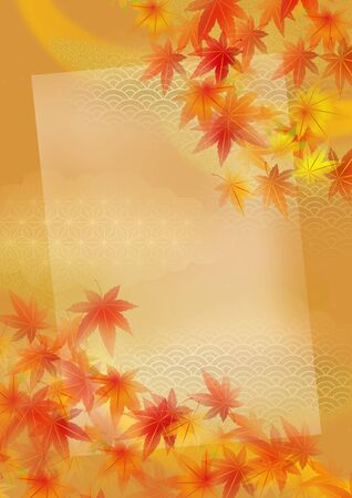 It is an illustration of autumnal leaves in Japan. Stock Photo