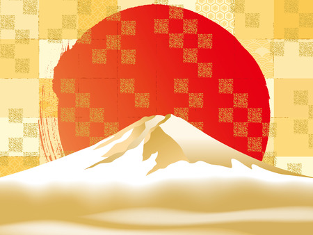 Vector illustration of Mt. Fuji over red sun
