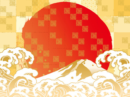 Vector illustration of Mt. Fuji with clouds and red sun in the background