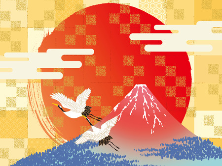 Vector illustration of Mt. Fuji with birds above