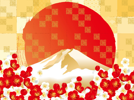 Vector illustration of Mt. Fuji with cherry blossom