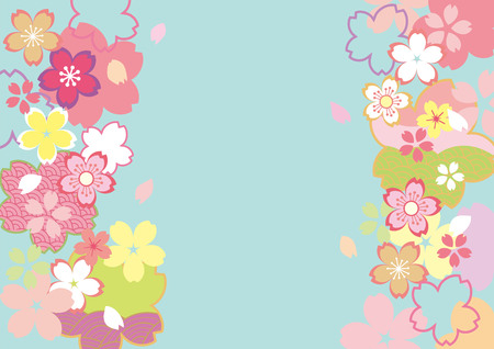 Illustration of cherry blossoms at entrance.