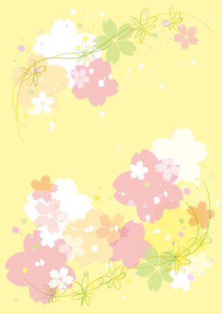 Cherry blossoms or sakura flowers border background design. Vector illustration.
