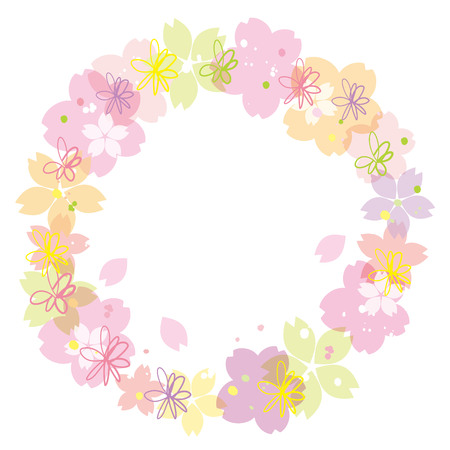 Cherry blossoms or sakura flowers round border design. Vector illustration. Illustration