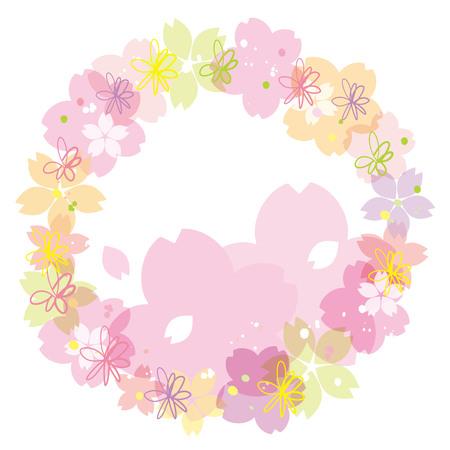 Cherry blossoms or sakura flowers border design. Vector illustration. 向量圖像