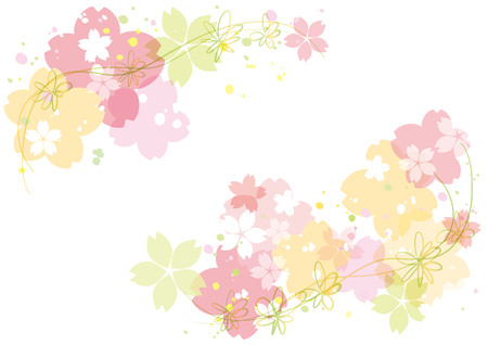 Cherry blossoms or sakura flowers border design. Vector illustration. Vectores