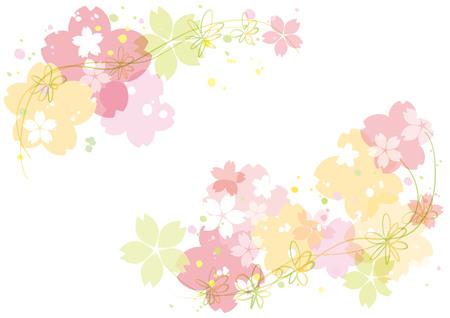 Cherry blossoms or sakura flowers border design. Vector illustration. Stock Illustratie
