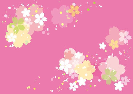 Cherry blossoms or sakura flowers border design. Vector illustration. Çizim
