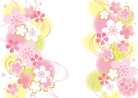 Sakura flowers background in pink, yellow and white colors. Illustration