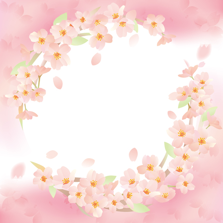 Beautiful cherry flowers forming a circle. 向量圖像