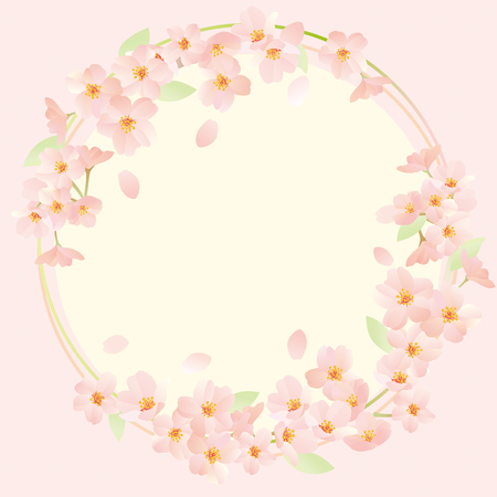 Beautiful cherry flowers forming a circle. Illustration