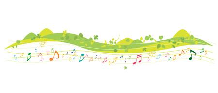 Fun music and green environment vector illustration. 일러스트