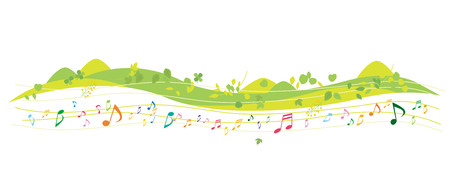 Fun music and green environment vector illustration. 矢量图像