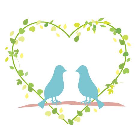 Cute illustrations of tree birds vector illustration.