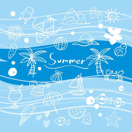Fun summer illustration  イラスト・ベクター素材