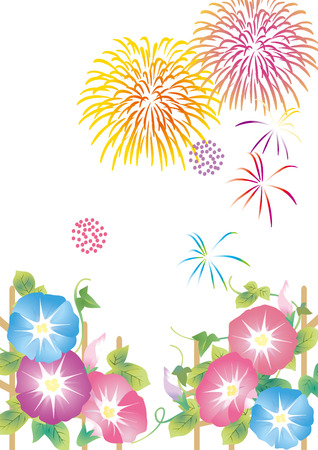 Japanese summer fireworks and morning glory