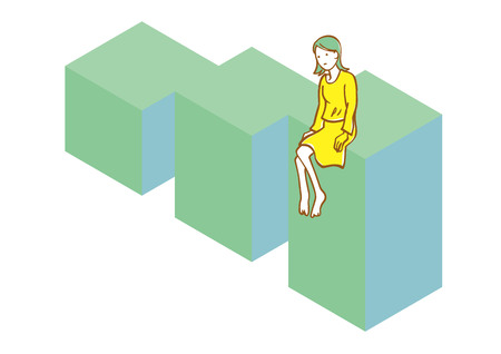 A woman thinking on the building Illustration