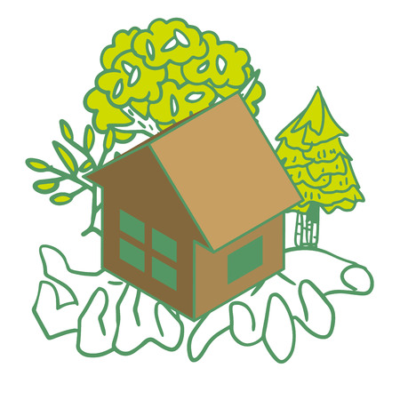 Illustration of an eco-house in the palm of your hand