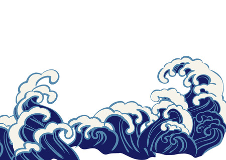 Beautiful illustration of Japanese wave (navy blue) Illusztráció