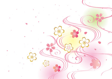 Japanese pattern of cherry blossoms Vector Illustration