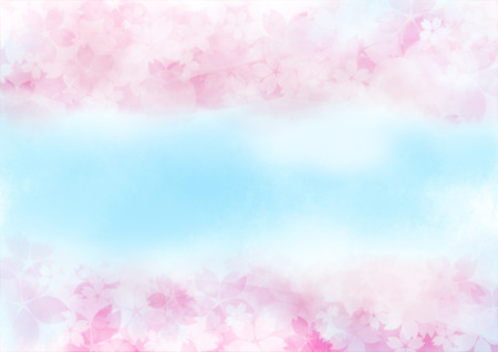 Illustration of blue sky and gentle color cherry blossoms and petals