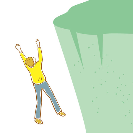 Illustration of a man falling from a cliff