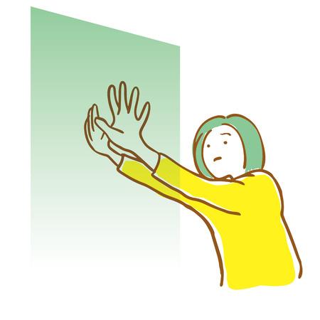 Woman pushing a wall. Dark feeling Foto de archivo - 120322063