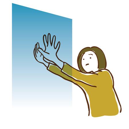 Woman pushing a wall. Dark feeling