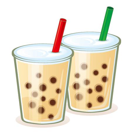 Fashionable tapioca drink Stock Illustratie