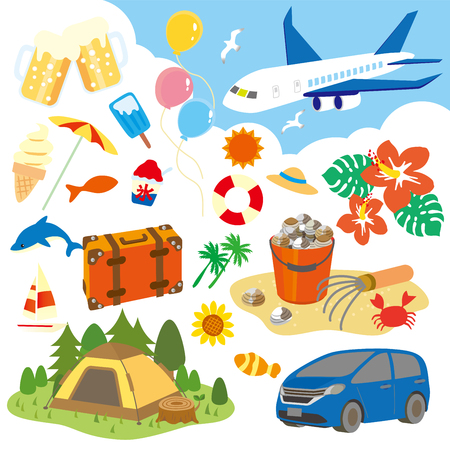 Summer leisure illustration set