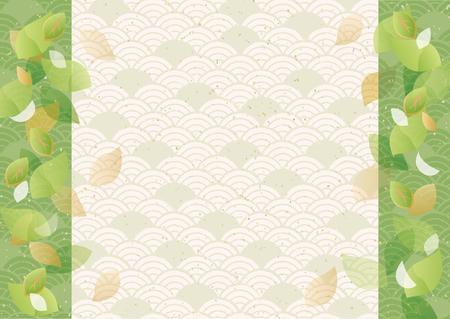 Patrón de estilo japonés verde Ilustración de vector
