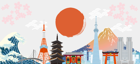 Illustration of Tokyo city in Japan Illusztráció